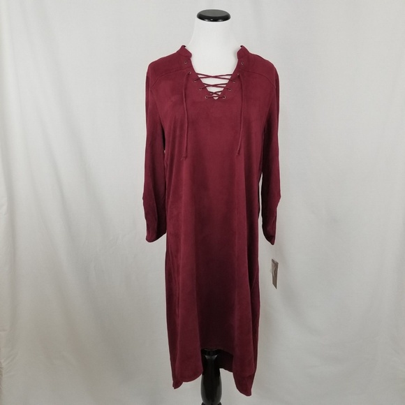 Fever Dresses & Skirts - NEW Fever Red Lace Up 3/4 Sleeve Suede Shirt Dress